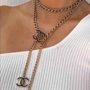 Vintage CHANEL White/Silver CC Belt/Necklace